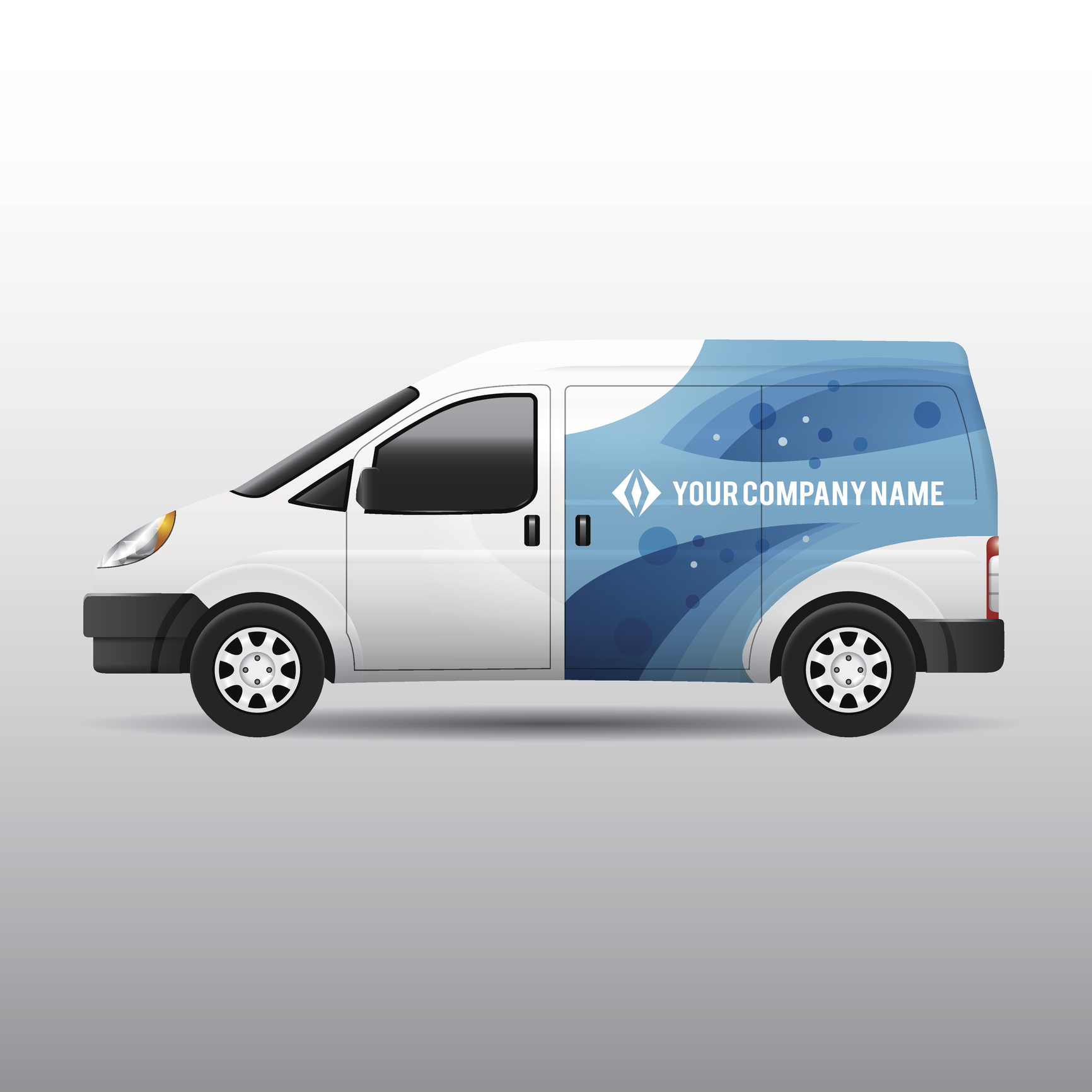 Advertisement Or Corporate Identity Design Template On White Van. For Business, Branding And Advertising Companies.