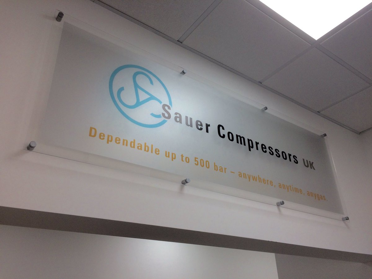 Internal Frosted Acrylic Sign – Sauer Compressors UK